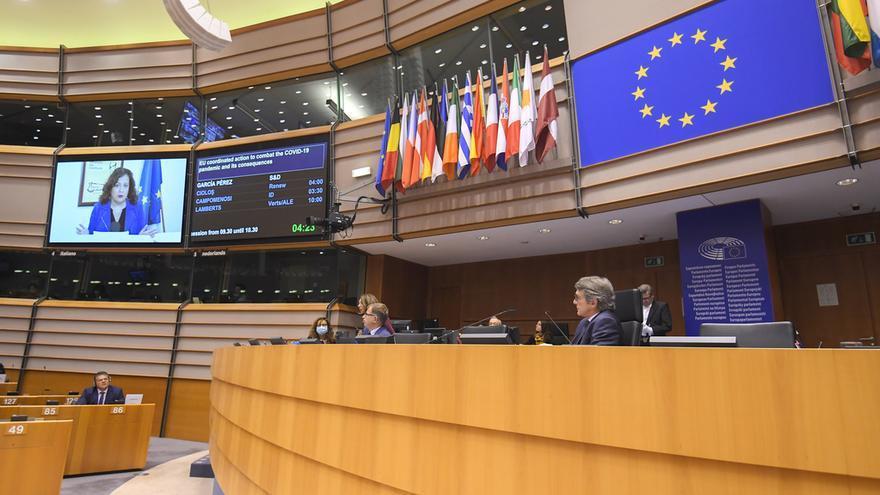 Intervención telemática de la presidenta de los socialistas en la Eurocámara, Iratxe García, en el pleno de Bruselas del 16 de abril de 2020.
