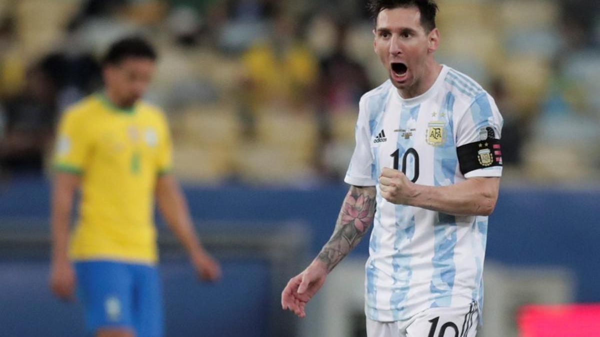 Messi grita el gol de Di María