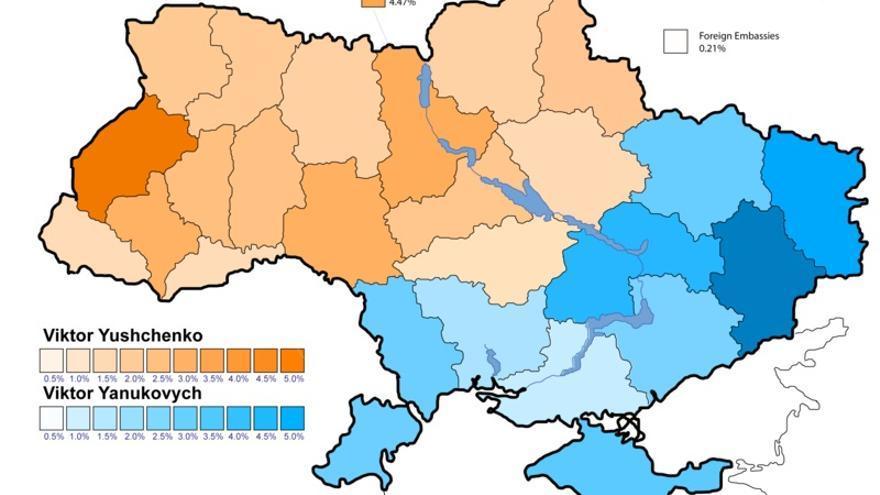 Resultado por provincia de las elecciones presidenciales de Ucrania de 2004