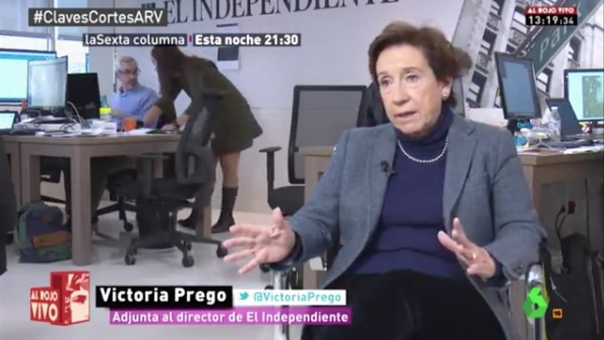 Victoria Prego, durante la entrevista en La Sexta Columna.