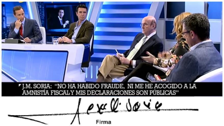 José Manuel Soria siendo entrevistado en 13TV