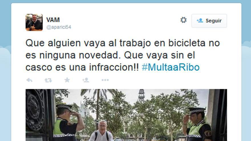 El tuit publicado por el senador popular Vicent Aparici en el que reclamaba la sanción para Ribó