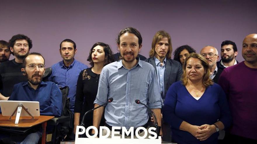 El secretario general de Podemos, Pablo Iglesias, en la rueda de prensa tras el anuncio de Pablo Echenique como nuevo secretario de Organización en sustitución de Sergio Pascual