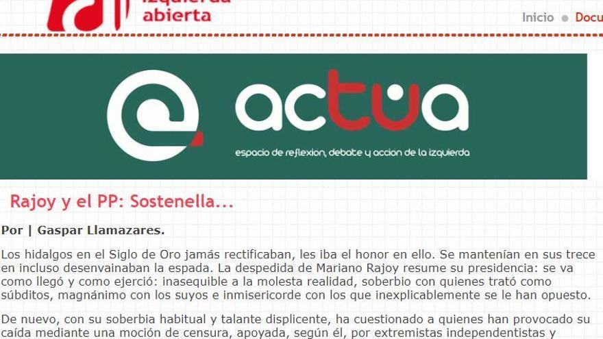 Pantallazo de la web de Izquierda Abierta.