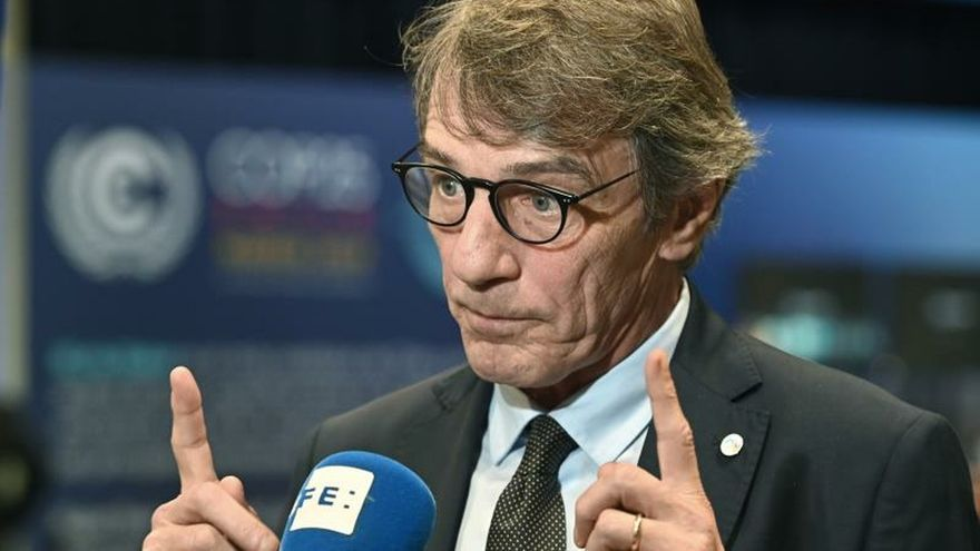 El presidente del Parlamento Europeo, el italiano DavidSassoli, durante la entrevista.