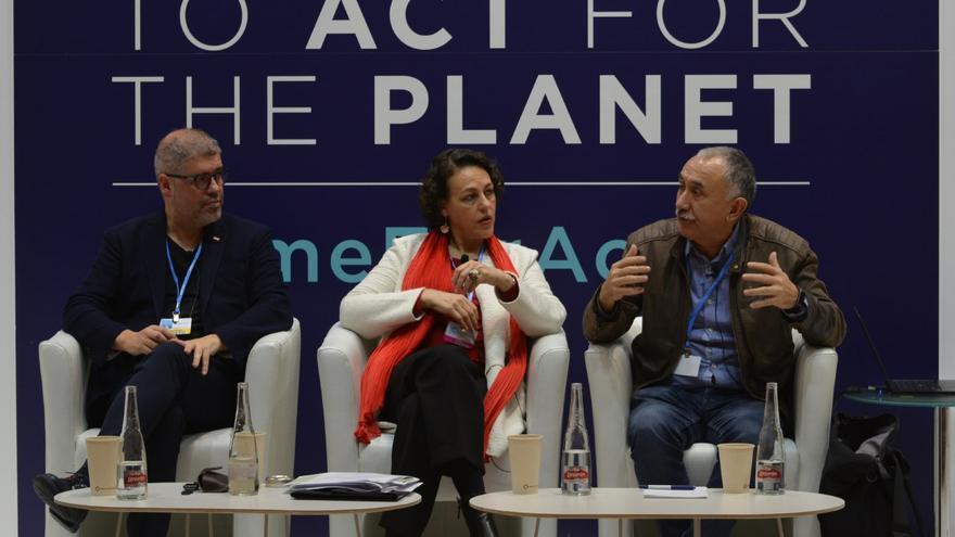 Unai Sordo, Magdalena Valerio y Pepe Álvarez, este jueves en la COP25.