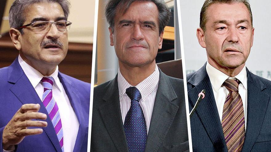 Román Rodríguez, Juan Fernando López Aguilar y Paulino Rivero, se oponen a la ley del suelo. (EFE).