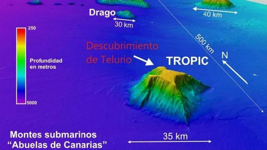 Localización del monte Tropic, al suroeste de Canarias. (IGM).