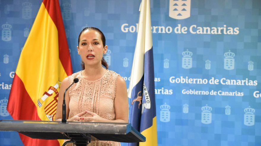 La vicepresidenta del Gobierno de Canarias, Patricia Hernández, durante la presentación del borrador del anteproyecto de la Ley de Servicios Sociales.