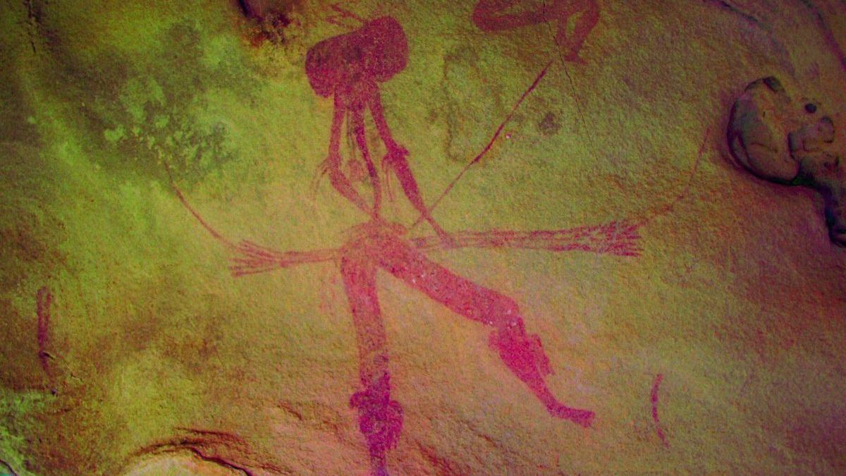 Figura en uno de los tres nuevos abrigos rupestres descubiertos en la pedanía alcañizana de Valmuel, en Teruel.