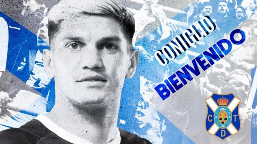 Cartel de bienvenida publicado por el CD Tenerife para anunciar el fichaje de Fernando Coniglio.