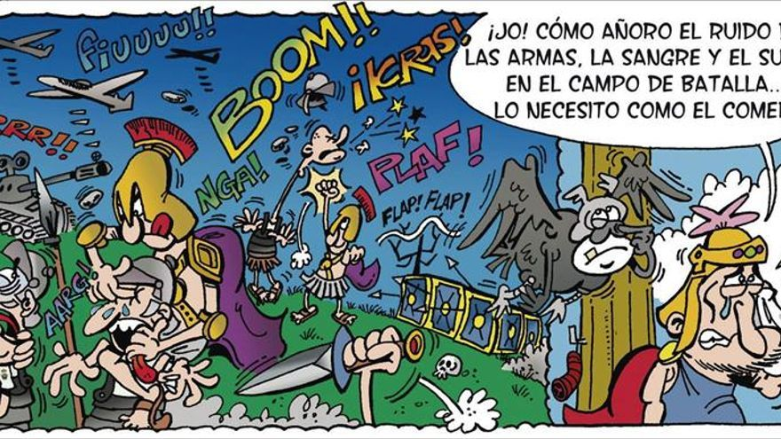Las misiones de paz en cómic, con dos niños y los dioses del Olimpo