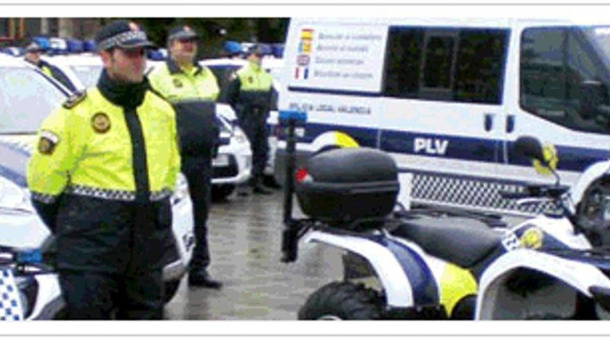 Agentes y equipamiento de la Policía Local de Valencian / SPPLB