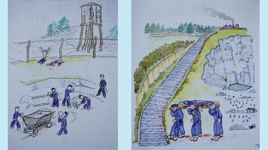 Dibujos realizados por Manuel Alfonso en Mauthausen