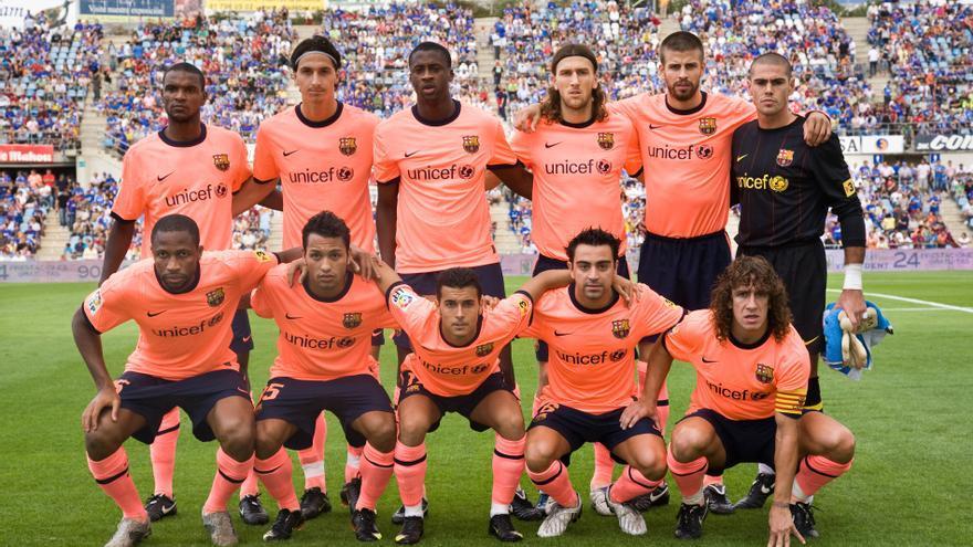 Once del FC Barcelona entrenando por Guardiola con Pedrito y Jeffren.
