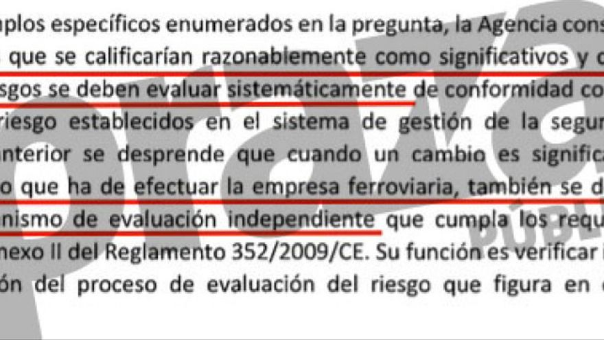 Fragmento del informe de la Agencia Ferroviaria Europea entregado en el juzgado