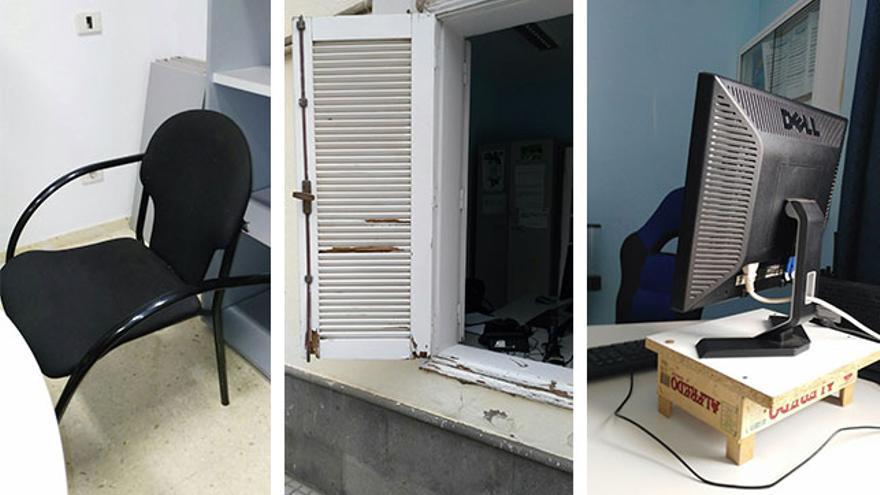 Estado del material en las oficinas de la Policía Local de Mogán