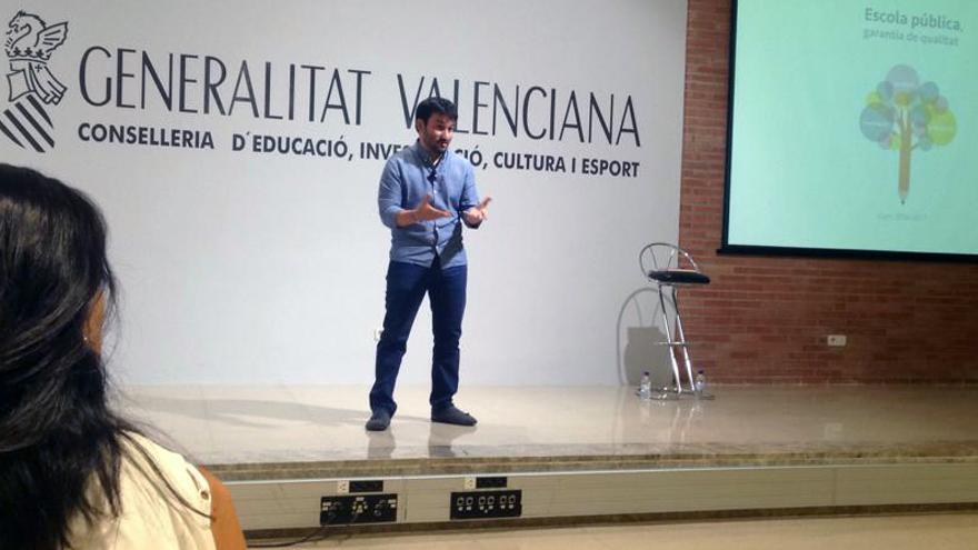 El conseller de Eduación, Vicent Marzà, durante la rueda de prensa sobre el inicio del curso escolar