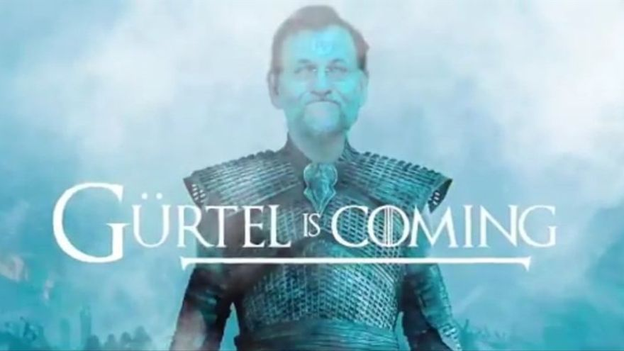 Gürtel is coming, el lema de Podemos contra Rajoy