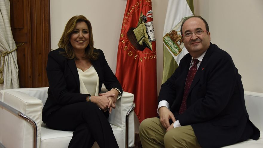 Susana Díaz con Miquel Iceta este jueves en Sevilla.