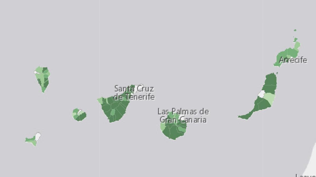 Casos por población en Canarias