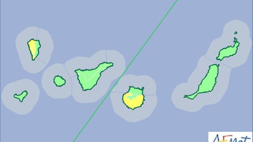 Mapa de la Aemet de aviso de riesgo por altas temperaturas para este viernes.