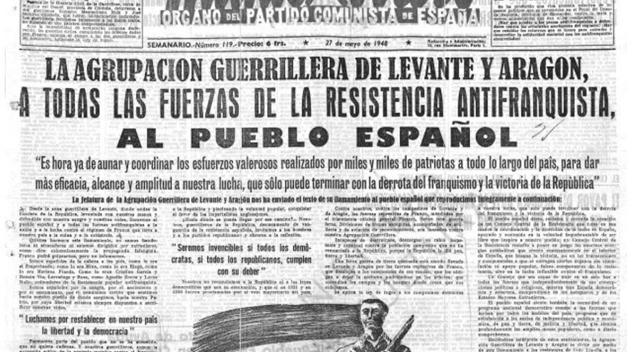 """Portada de """"Mundo obrero"""" dedicada a la Agrupación Guerrillera de Levante y Aragón. Imagen cedida por Raül González Devís."""