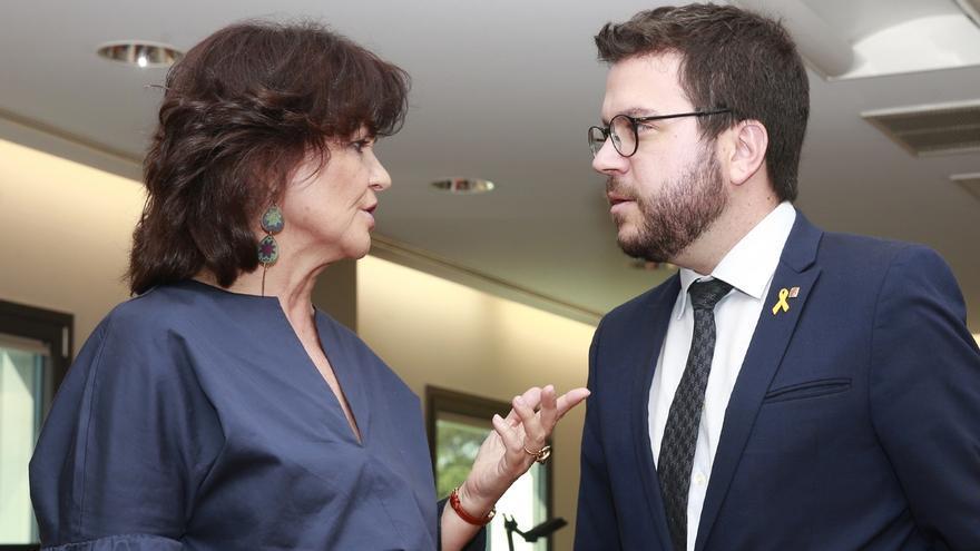 """Calvo destaca la """"recuperación del diálogo institucional"""" con Cataluña tras entrevistarse con Aragonés"""
