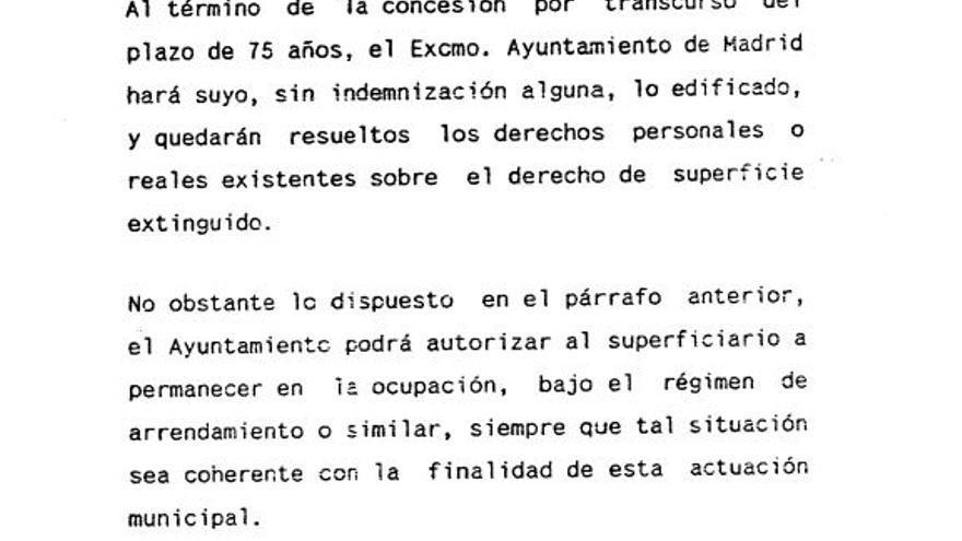 Fragmento del pliego original del Ayuntamiento de Madrid del Plan 18.000