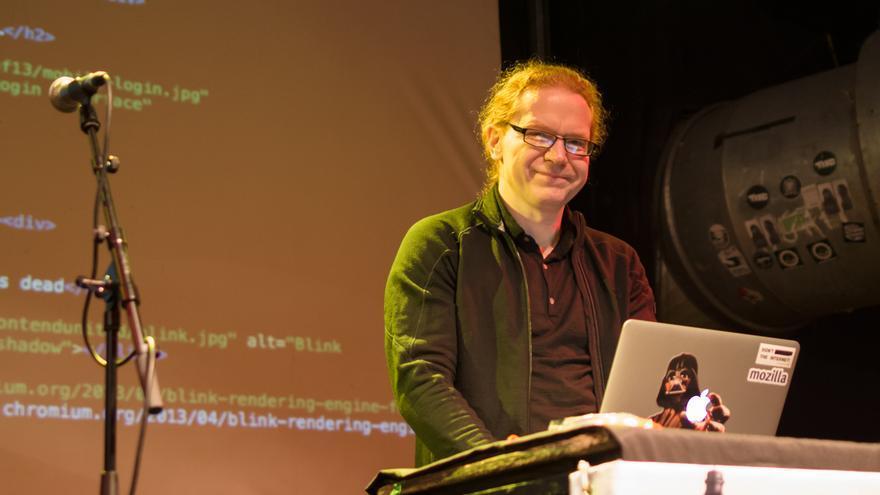 Christian Heilmann durante su conferencia en la Frontend United London 2013