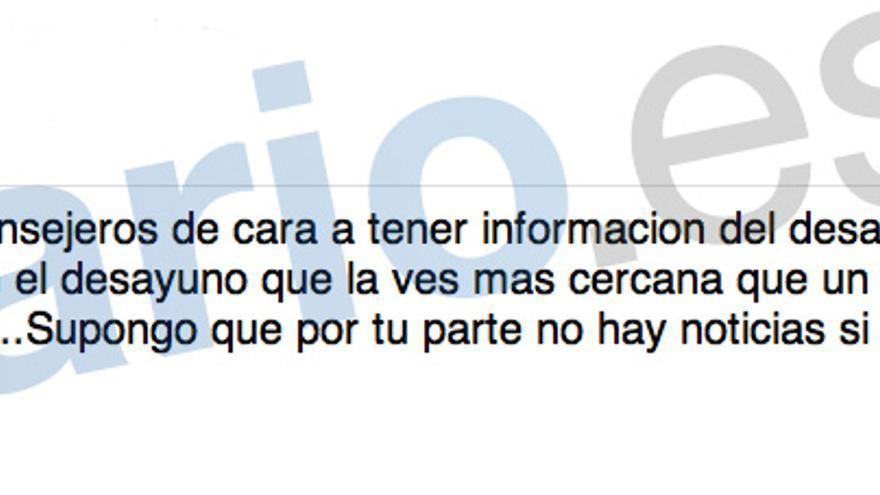 Correo en el que De la Torre informa a Blesa de que Romero ha intermediado con la vicepresidenta