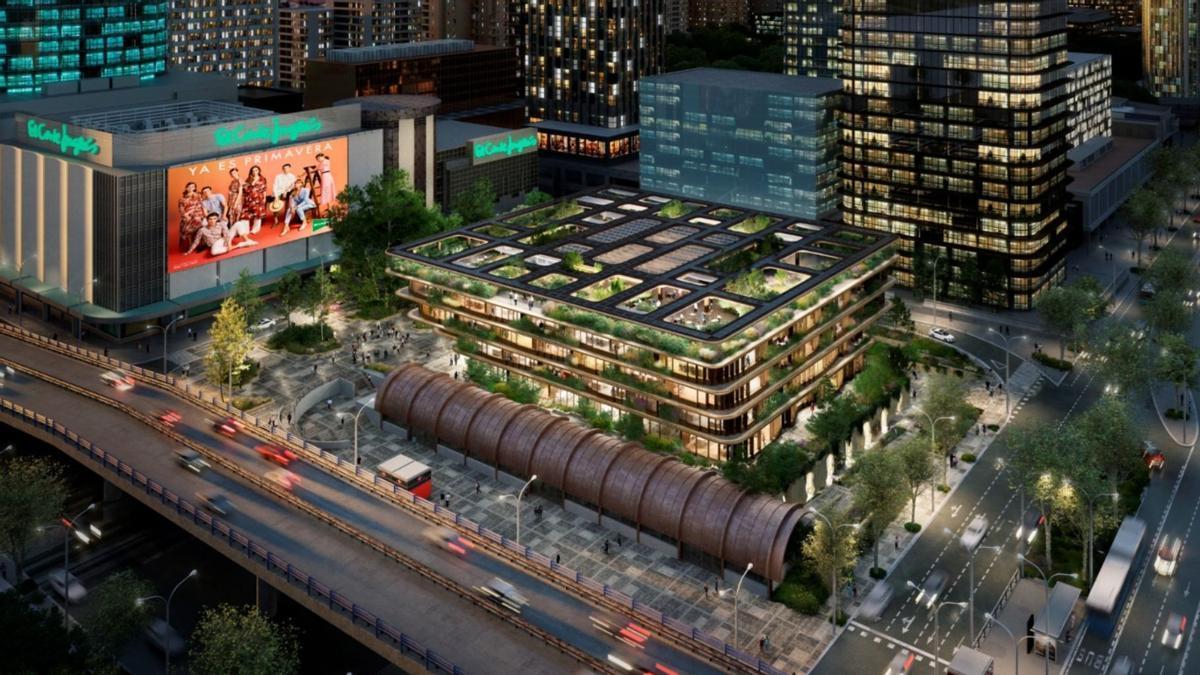 Proyecto del futuro edificio de oficinas sobre el párking de Nuevos Ministerios
