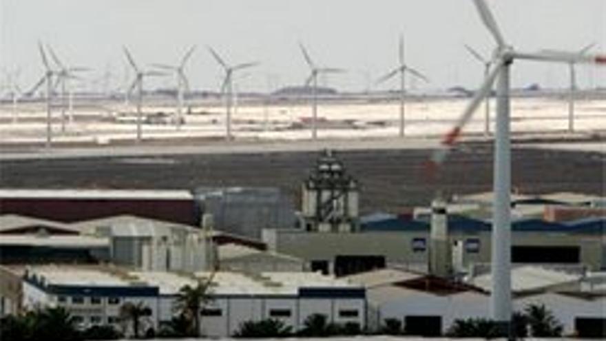 Molinos de energía eólica en Arinaga.