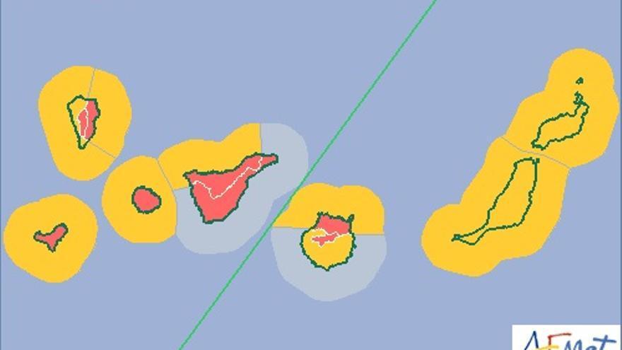 Mapa de la Aemet de aviso de riesgo extremo por fuertes vientos.