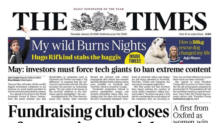 Portada de The Times del jueves con la noticia del escándalo.