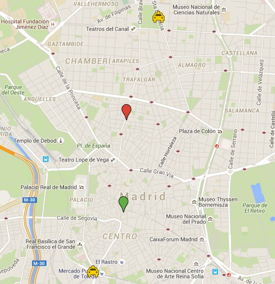 Parques de bomberos en Madrid Centro y futura ubiación (en rojo) del de San Bernardo. En verde, el actual de Imperial que será trasladado