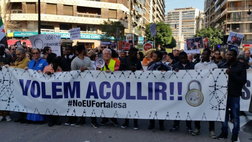 Un momento de la marcha 'Volem acollir' celebrada en Valencia