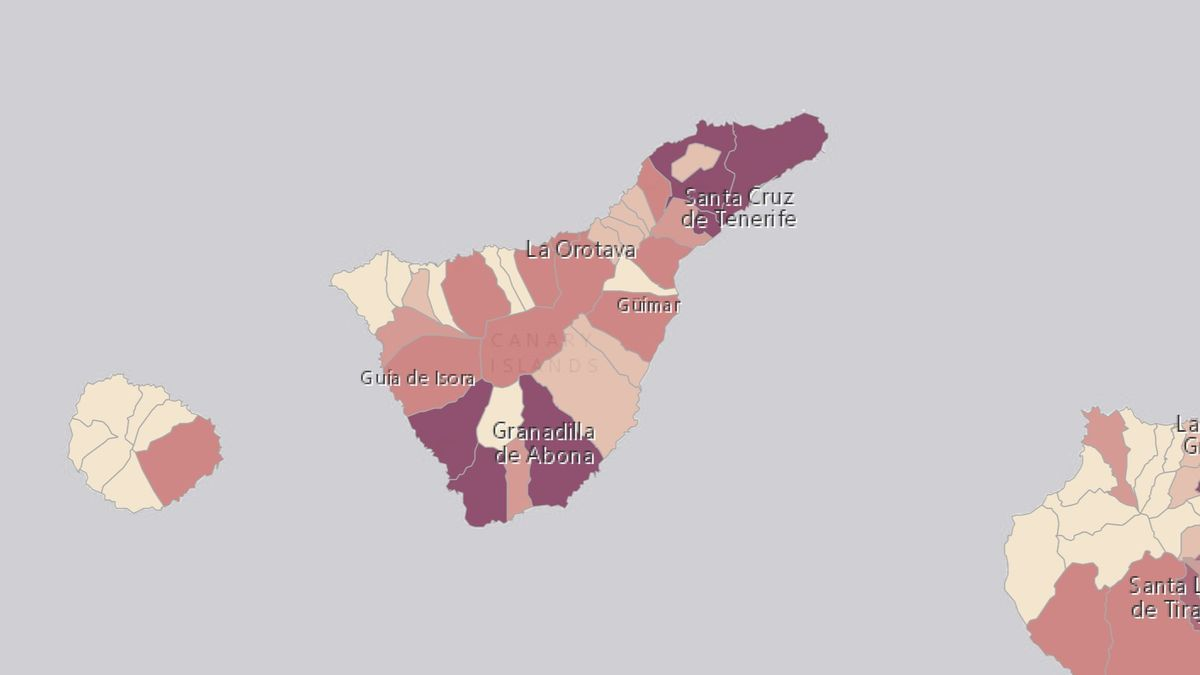 Mapa de los casos activos en Tenerife