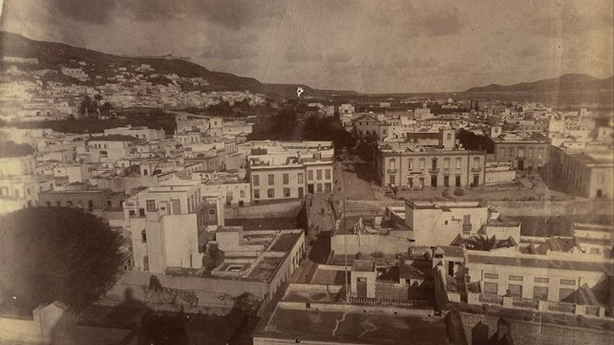 Vista aérea de Vegueta en 1900.