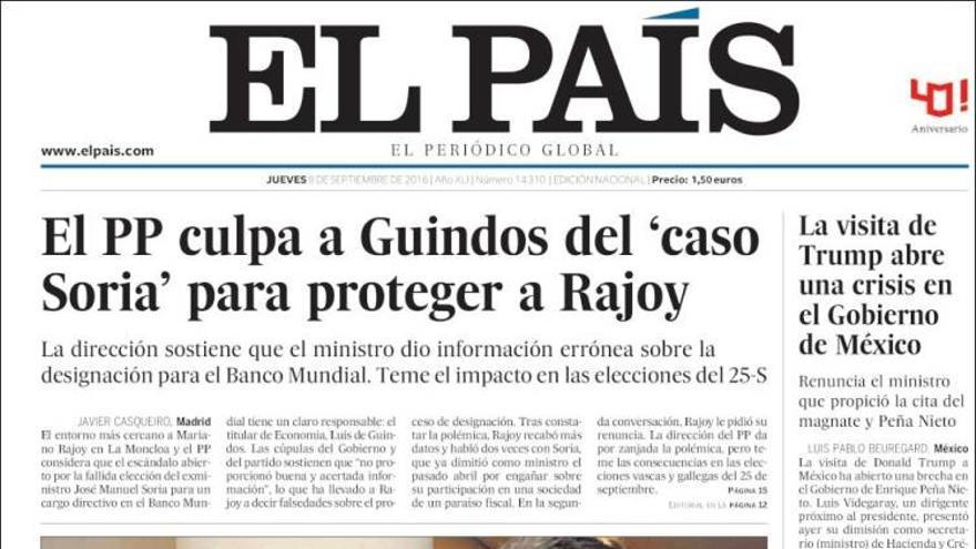 Portada de El País (8 de septiembre de 2016)