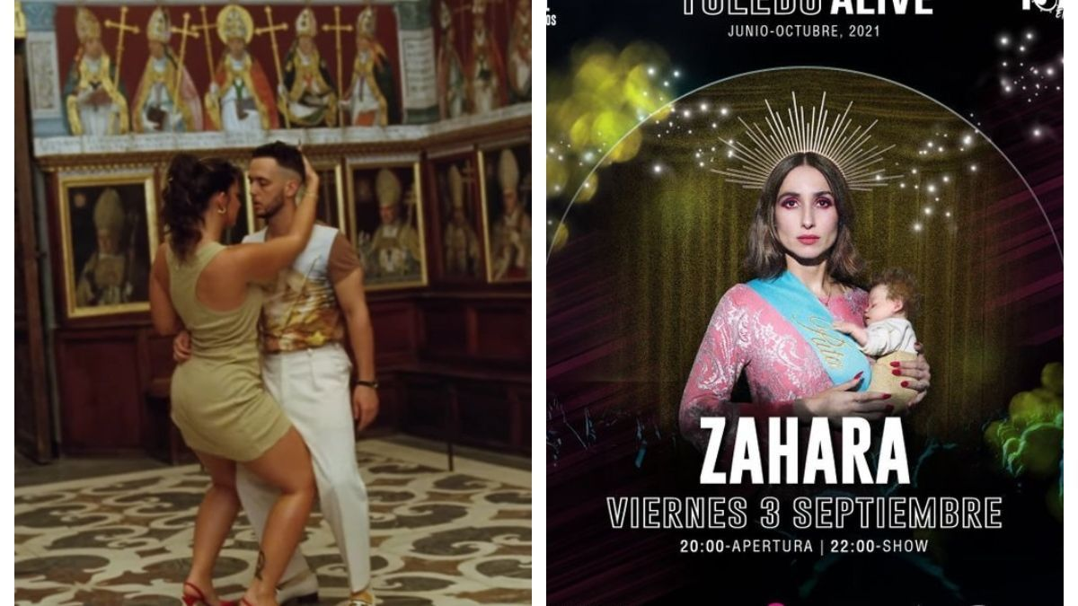 Fotograma el videoclip de C. Tangana y Nathy Peluso e imagen del cartel censurado de Zahara