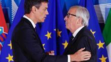 Jean-Claude Juncker y Pedro Sánchez.