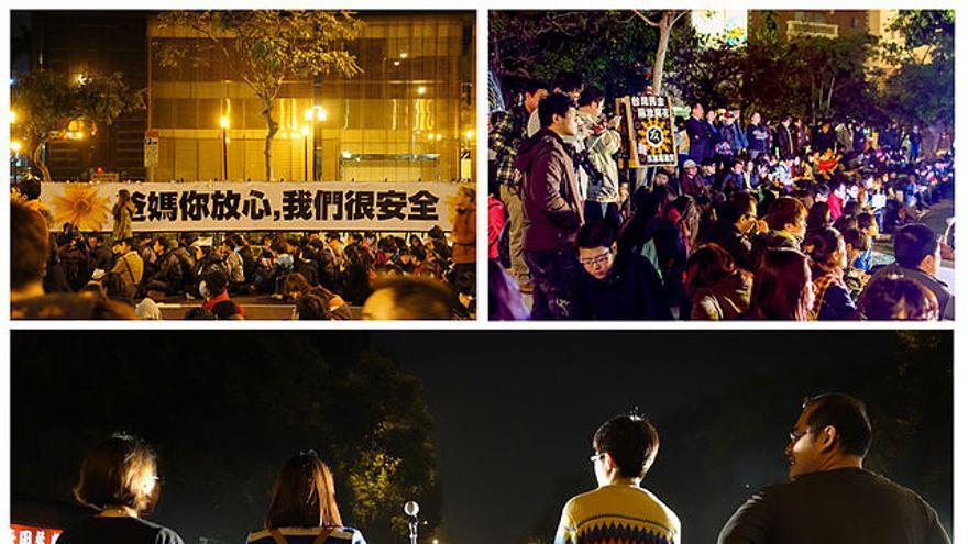 """El movimiento estudiantil conocido como """"Girasol"""" consiguió ocupar los edificios oficiales y grabar desde el interior"""