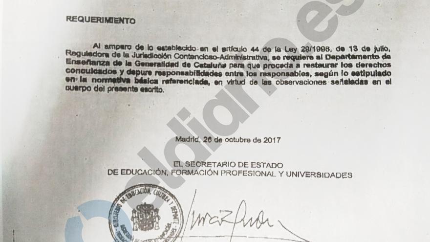 El secretario de Estado de Educación, Marcial Marín, firma el requerimiento
