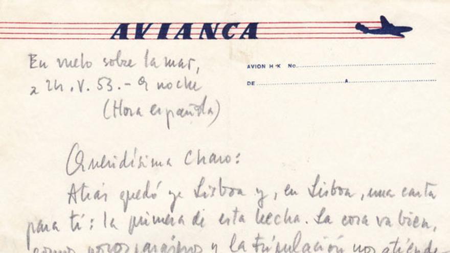 Carta manuscrita de Camilo José Cela procedente del archivo personal del escritor.