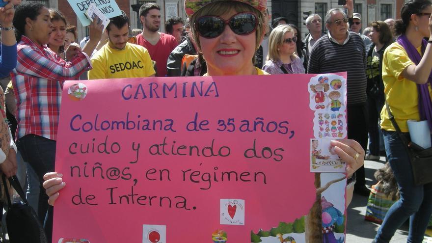 Trabajadora colombiana reivindicando sus derechos ©Susana Albarrán