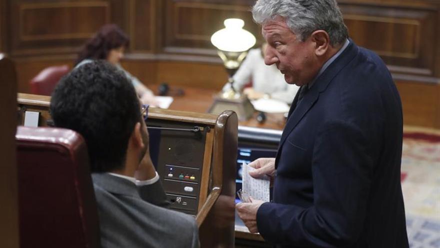El diputado de Nueva Canarias, Pedro Quevedo, conversa con el portavoz parlamentario del PSOE, Antonio Hernando
