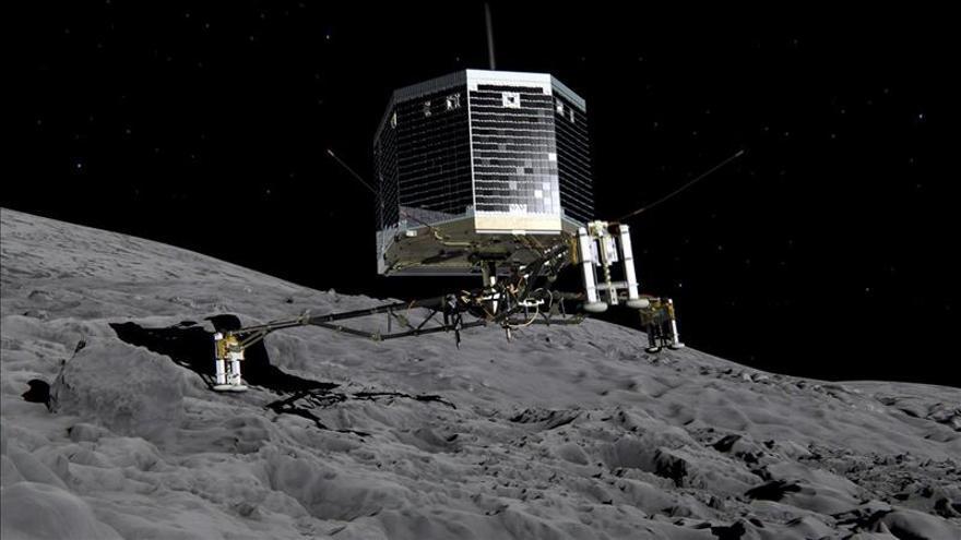 Simulación gráfica de la llegada de Philae al cometa.
