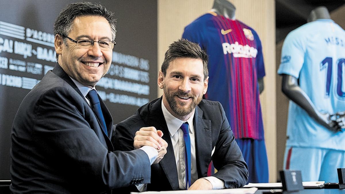 El expresidente Bartomeu y Lionel Messi en noviembre de 2017, cuando la relación no estaba rota.