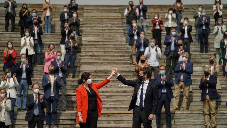 Isabel Díaz Ayuso y Pablo Casado, este miércoles, en Madrid